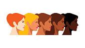 Multi-ethnic women,Different ethnicity women, African, Asian, Chinese, European, Latin American, Arab
