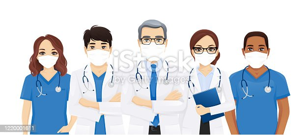 Multiethnic doctor team group with leader wearing protective medical mask isolated vector illustration