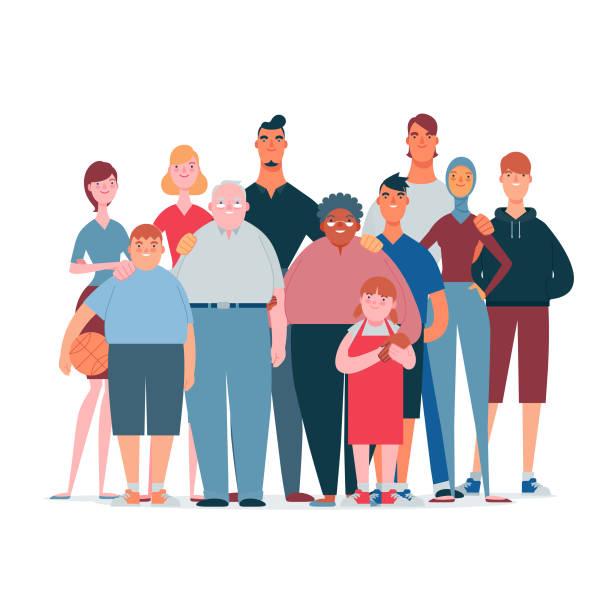 multi-ethnic family vector art illustration
