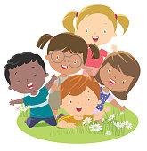 Vector Multi-ethnic group child