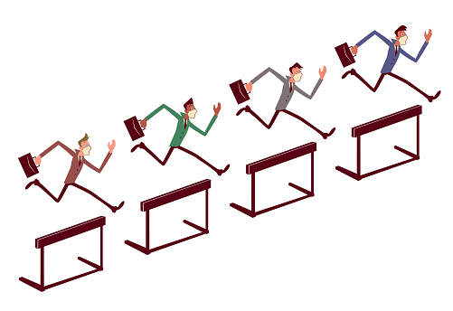 Multi-Ethnic Group of businessmen wearing a face mask and hurdling (running and jumping)
