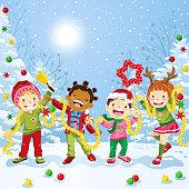 Multi-ethnic group of children celebrating Christmas.