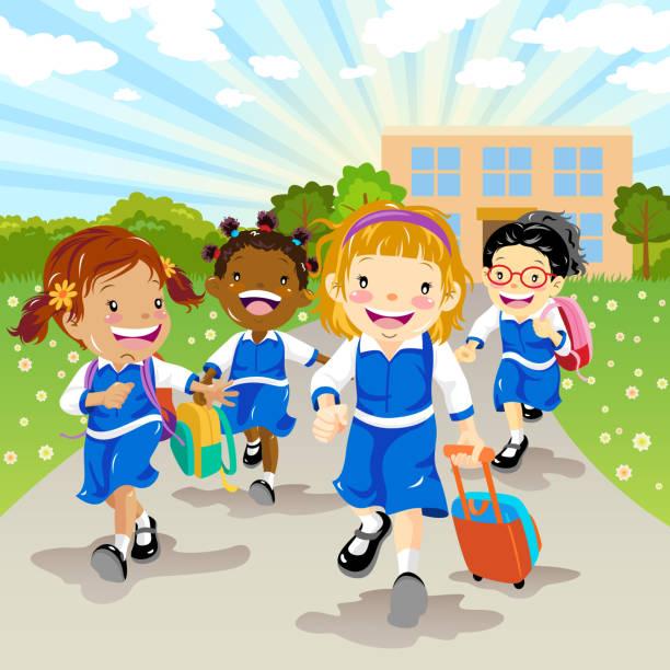 ilustraciones, imágenes clip art, dibujos animados e iconos de stock de grupo multiétnico de las niñas a la escuela - regreso a clases