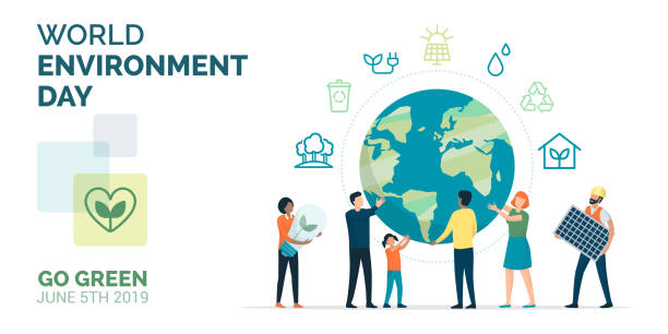 ilustrações de stock, clip art, desenhos animados e ícones de multiethnic group of people choosing a sustainable eco-friendly lifestyle - sustentabilidade