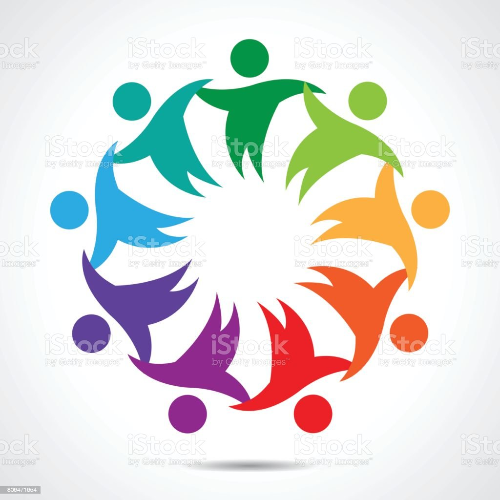 Multi-Ethnic Group of People Community, Unity, Friendship and Solidarity vector art illustration