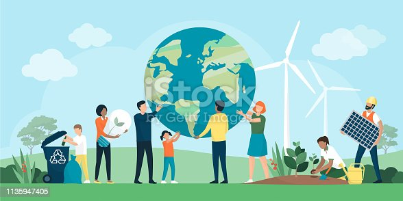 istock Multiethnic group of people cooperating for environmental protection 1135947405