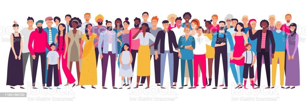 Grupo multiétnico de pessoas. Sociedade, retrato multicultural da Comunidade e cidadãos. Ilustração nova, adulta e idosa do vetor dos povos - Vetor de Adulto royalty-free