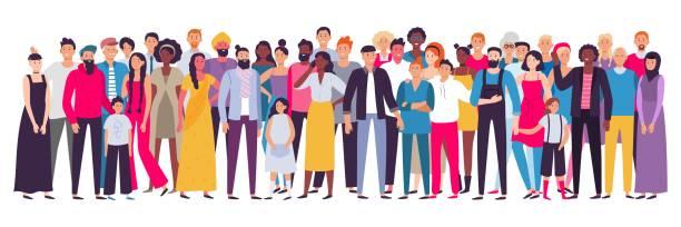 wieloetniczna grupa ludzi. społeczeństwo, wielokulturowy portret społeczności i obywateli. ilustracja wektorowa młodych, dorosłych i starszych - indie stock illustrations