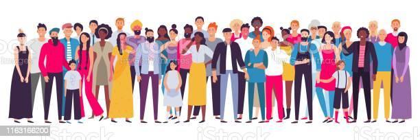 Vetores de Grupo Multiétnico De Pessoas Sociedade Retrato Multicultural Da Comunidade E Cidadãos Ilustração Nova Adulta E Idosa Do Vetor Dos Povos e mais imagens de Adulto