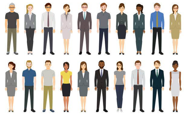 Multiethnic group of people Multiethnic group of people. Created with adobe illustrator. businesswear stock illustrations