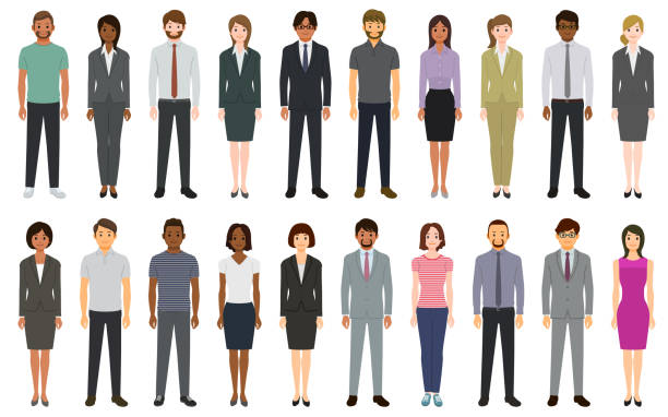 multiethnic group of people - business people stock illustrations
