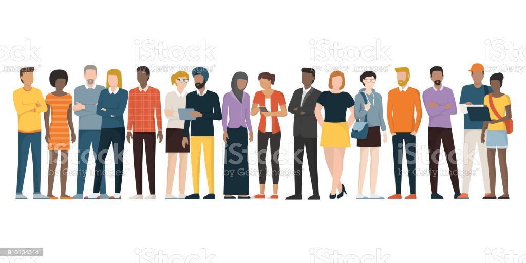 Multiethnic group of people Multiethnic group of people standing together on white background, diversity and multiculturalism concept Adult stock vector