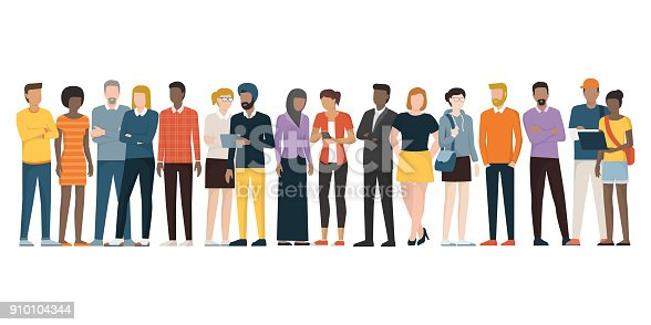 Multiethnic group of people standing together on white background, diversity and multiculturalism concept
