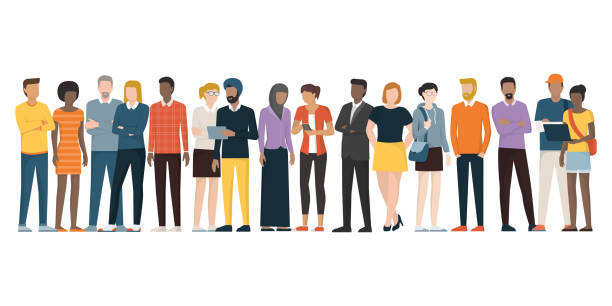 multiethnic group of people - standing stock illustrations
