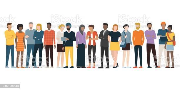 Multiethnic Group Of People - Arte vetorial de stock e mais imagens de Adulto