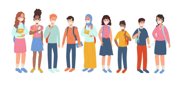 multiethnische gruppe von studenten in medizinischer maske - ffp2 maske stock-grafiken, -clipart, -cartoons und -symbole
