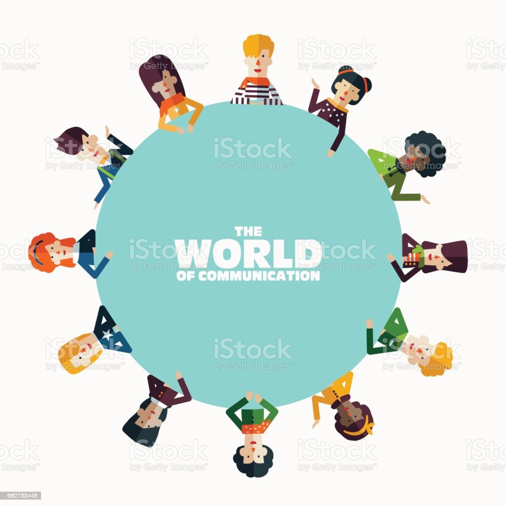 Multi-ethnischen Gruppe junger und lächelnden Menschen rund um den runden Tisch – Vektorgrafik