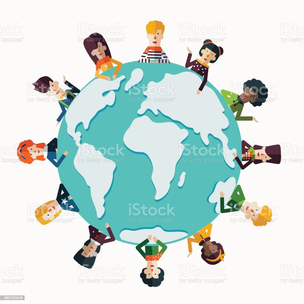 Multi-ethnic group of young and smiling people around the world vector art illustration