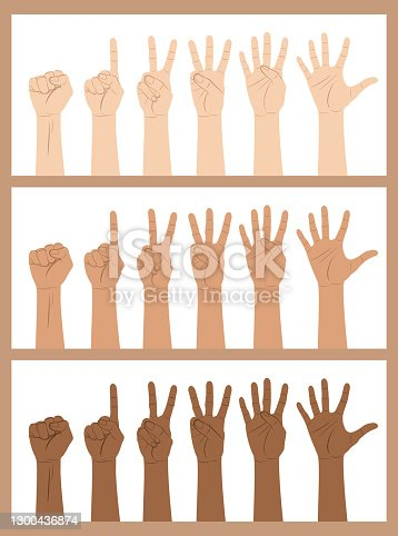 istock Multi-Ethnic hands counting from zero to five on fingers in sign language 1300436874
