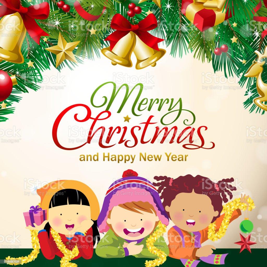 Multiethnic Kids Celebrate Christmas Stock Illustration Download Image Now Istock