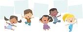 Multi-Ethnic Kids Holding Banner