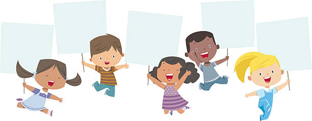 multi-ethnic kids holding banner - cartoon kids stock illustrations, clip art, cartoons, & icons