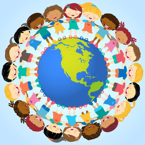 stockillustraties, clipart, cartoons en iconen met multi-ethnic kids holding hands around globe - kinderdag