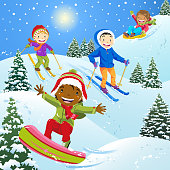 Multi-Ethnic Group of children skiing