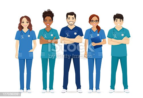 Multiethnic nurse characters group. Medical team isolated vector illustartion