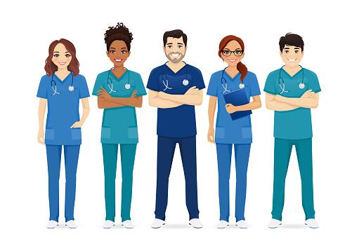 Multiethnic nurse characters group