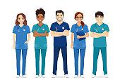 istock Multiethnic nurse characters group 1270360391
