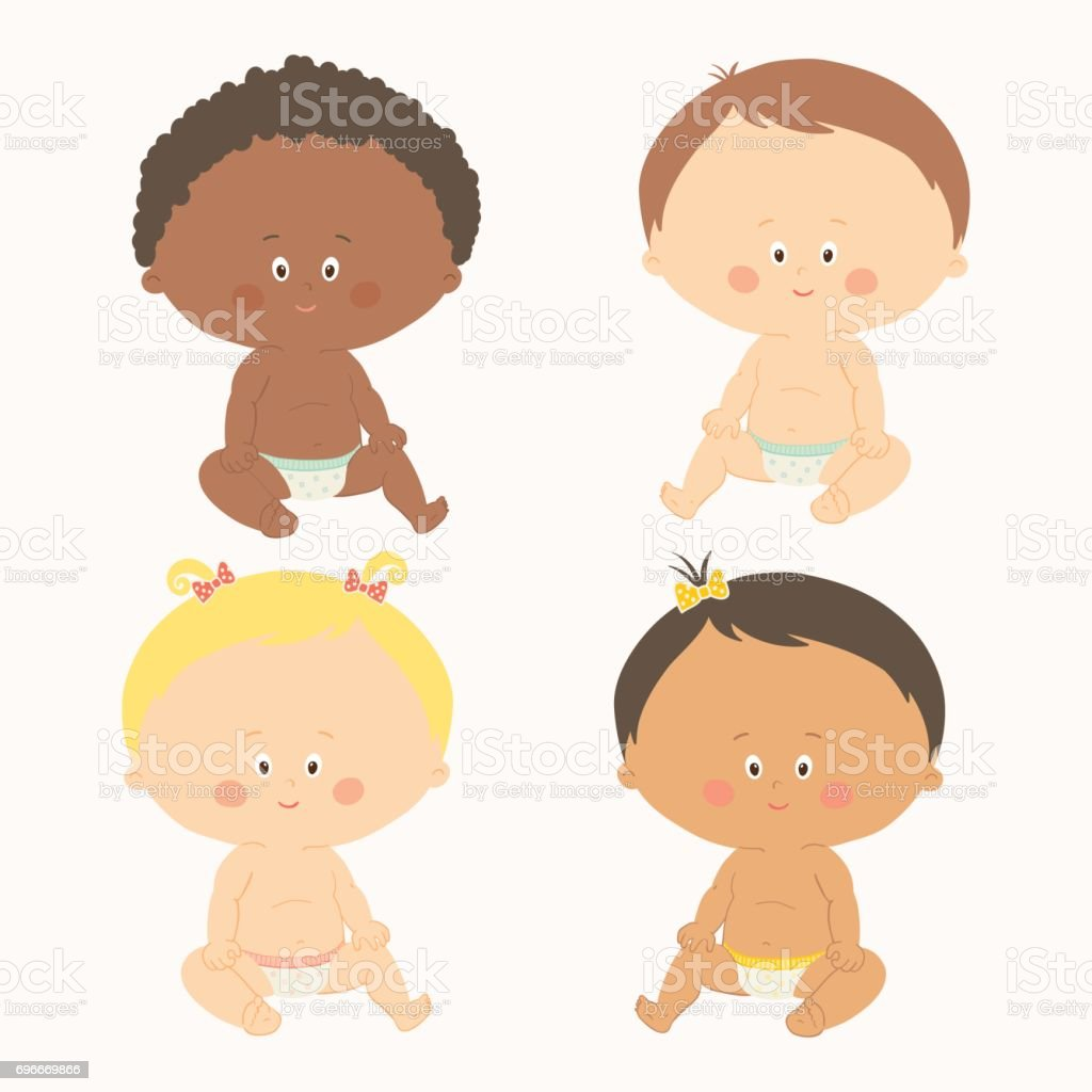 Multi-ethnic set of four babies sitting. Toddler girls and boys. vector art illustration