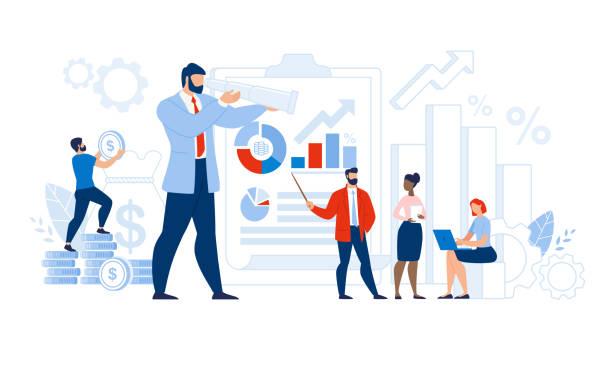 stockillustraties, clipart, cartoons en iconen met multi-etnisch team certified auditor doet onderzoek - financieel adviseur