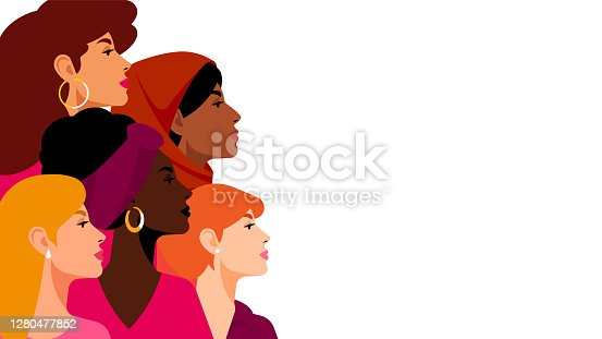 Multi-ethnic women. A group of beautiful women with different beauty, hair and skin color. The concept of women, femininity, diversity, independence and equality. Vector illustration.