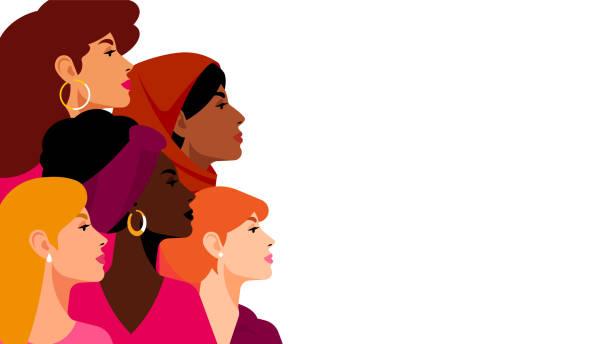 多族裔婦女。一群美貌、頭髮和膚色的美女。婦女、女性、多樣性、獨立和平等的概念。向量圖。 - 女人 幅插畫檔、美工圖案、卡通及圖標