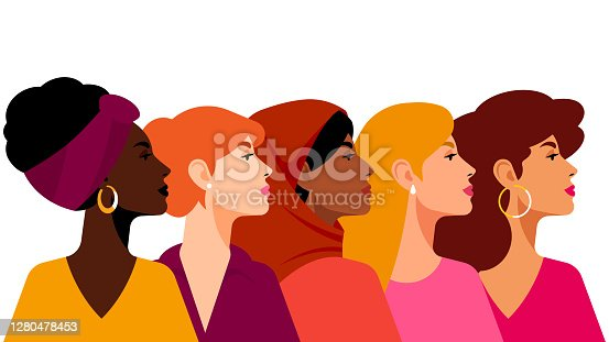 istock Multi-ethnic women. A group of beautiful women with different beauty, hair and skin color. The concept of women, femininity, diversity, independence and equality. Vector illustration. 1280478453
