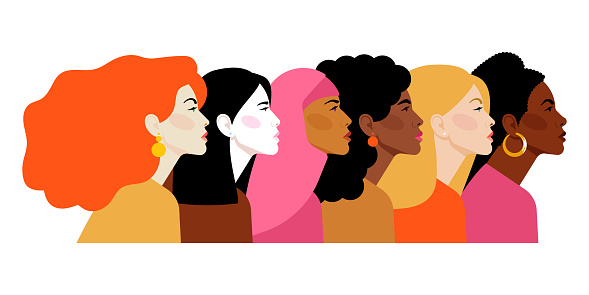 Multi-ethnic women. Different ethnicity women: African, Asian, Chinese, European, Latin American, Arab. Women different nationalities and cultures. The struggle for rights, independence, equality.
