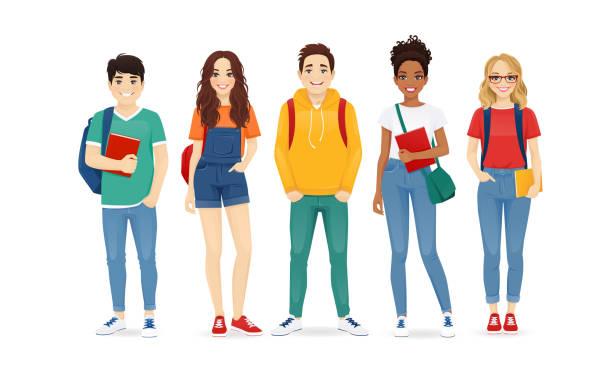 illustrazioni stock, clip art, cartoni animati e icone di tendenza di multiethnic young people in casual clothes - compagni scuola