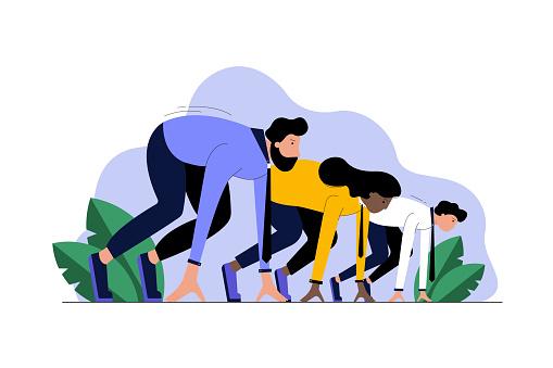 Multiethnicity, business, startup, sport, race, motivation, competition concept