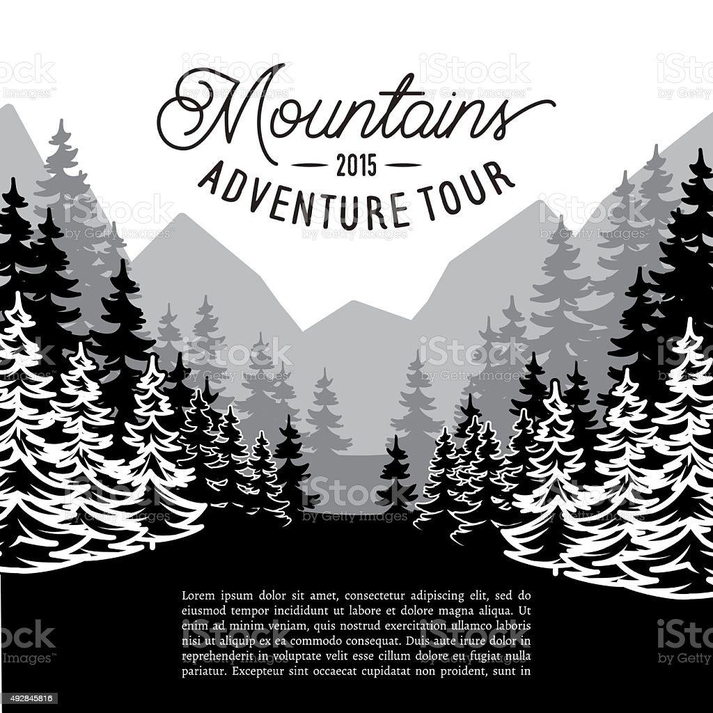 multifaceted fir forest landscape against mountains vector art illustration