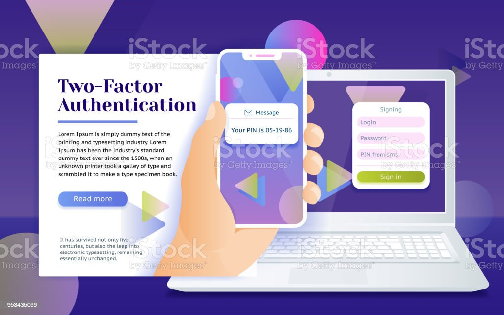 Multi-factor authentication (MFA) SMS code password. Man sits in front of the laptop with phone and getting access to the website two step verification. vector art illustration