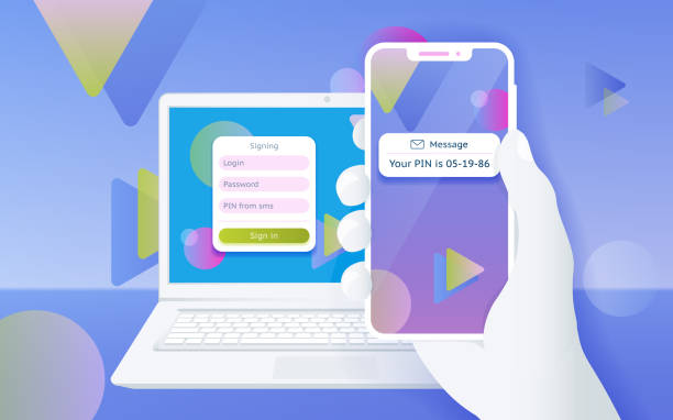 Multi-factor authentication (MFA) SMS code password. Man sitting at desktop and getting access to the website two step verification. vector art illustration