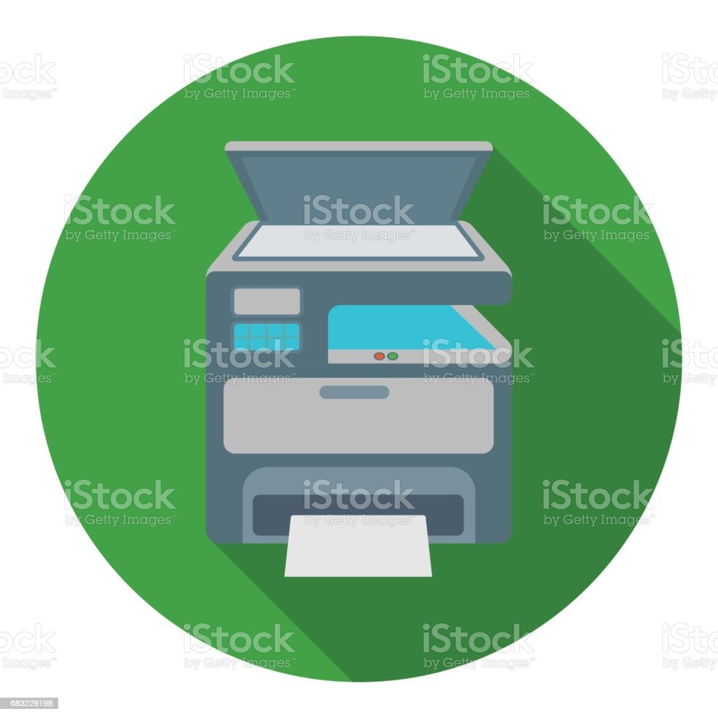 Multi-function printer in flat style isolated on white background. Typography symbol stock vector illustration.