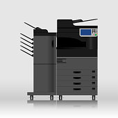 multifunction printer scanner copier, Copy machine, Vector illustration design.