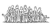 Hand-drawn vector drawing of a Multi-Generation Family Group Shot. Black-and-White sketch on a transparent background (.eps-file). Included files are EPS (v10) and Hi-Res JPG.
