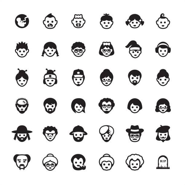 Multi-generation people avatars - icon set Multi-generation Family - Ultimate icons pack #18 millennial generation stock illustrations