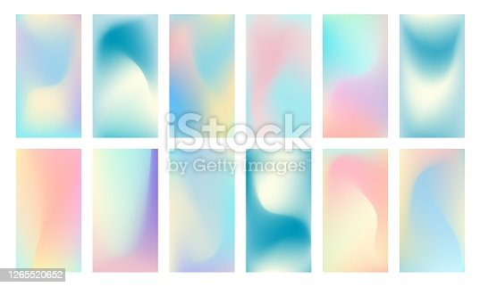 Trendy color holographic screen template. Soft liquid gradient backgrounds set