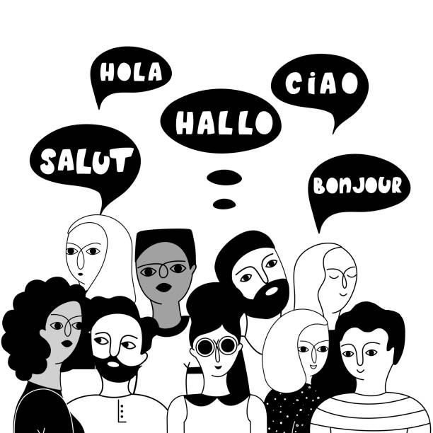 Multilingual group of people together vector illustration Multilingual group of people together vector illustration. Hello in English, French, Spanish, Italian languages in speech bubbles. Young multicultural male and female outline characters communication french culture stock illustrations