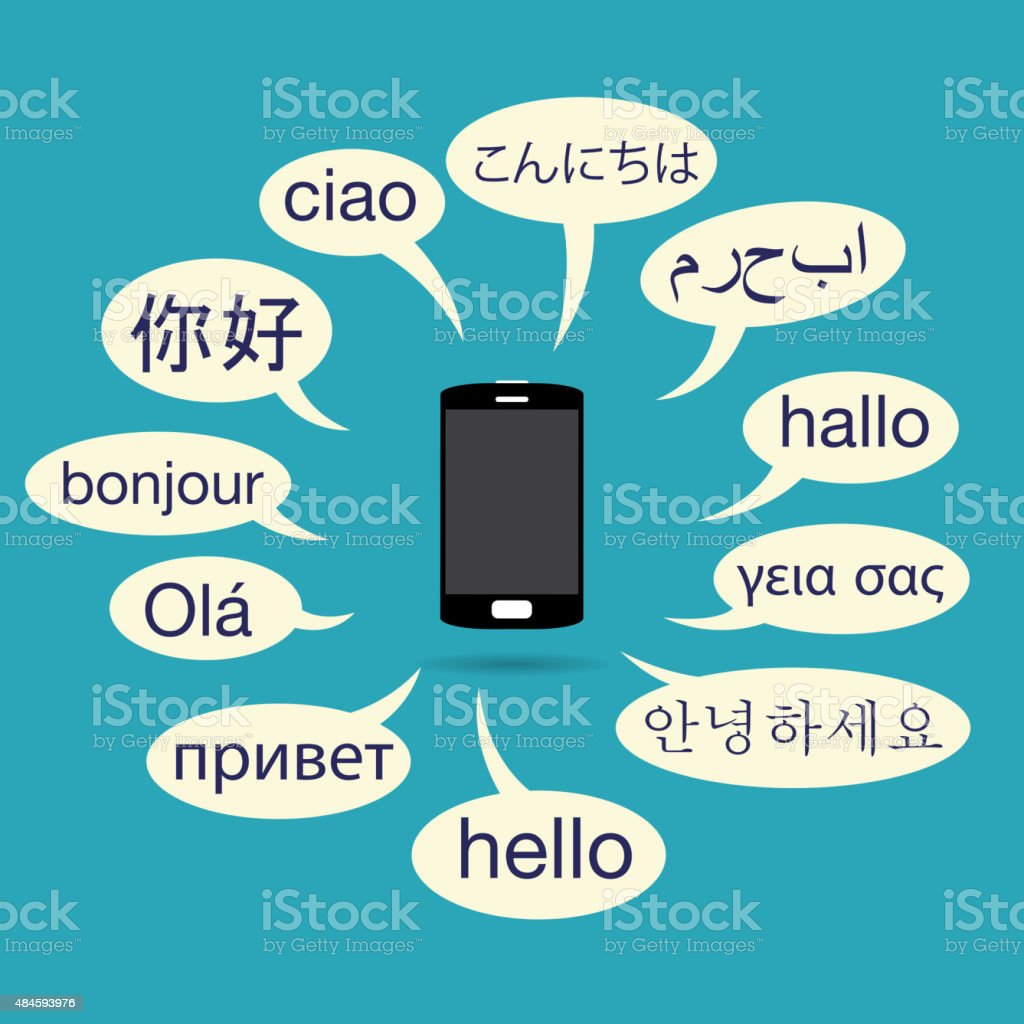 Multilingual Phone vector art illustration
