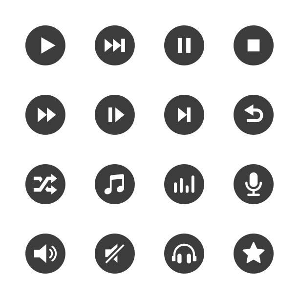 illustrazioni stock, clip art, cartoni animati e icone di tendenza di set di icone multimediali e audio - riposarsi